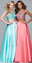 Faviana Two Piece Satin A-line Rhinestone Encrusted Prom Dress
