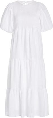 Faithfull The Brand Alberte Tiered Linen Midi Dress