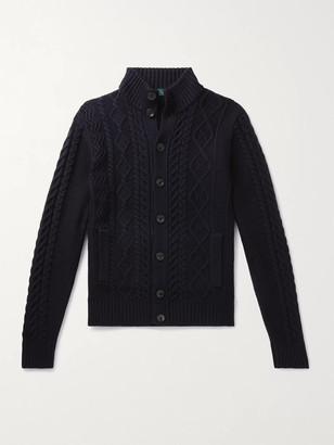 Incotex Cable-Knit Virgin Wool Cardigan
