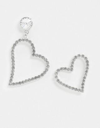 Krystal London Swarovski Crystal Asymmetric Heart Earrings