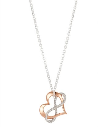 """Brilliance+ Brilliance """"Love"""" Two-Tone Heart & Infinity Pendant Necklace with Swarovski Crystals"""