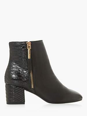Dune Wide Fit Orlla Side Zip Ankle Boots, Black Leather