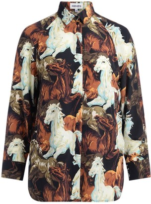 Kenzo Chavaux Model Silk Shirt With All Over Horses Print