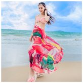 GERINLY Chiffon Sarong Wrap: Flaming Flowers Print Beach Shwal Scarf