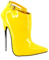 """BitterMoonHeel Appr.7"""" metal heel pointed toe ankle boots patent sexy ankle strap boots"""