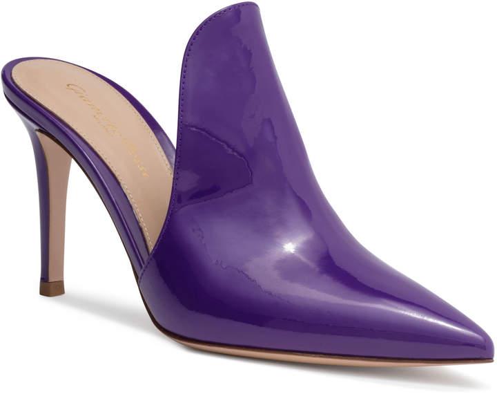Gianvito Rossi Aramis 85 Violet Patent Leather Mules