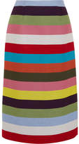 Mary Katrantzou Sigma Striped Wool-blend Twill Midi Skirt - Green