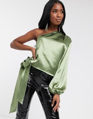 Koco & K satin one shoulder blouse in sage green
