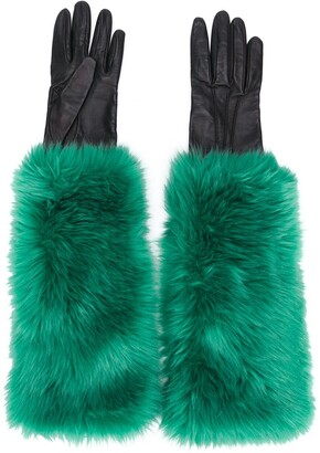 Prada Pre Owned 2000 Faux Fur Lined Gloves