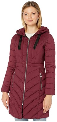 Bernardo Fashions EcoPlume Soft Touch Walker Packable Puffer Jacket with Ribbon Detail (Berry Jam Red) Women's Jacket
