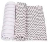 Miracle Blanket MiracleWare 2-Pack Stripe/Chevron Muslin Swaddles in Pink/Grey