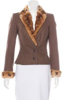 John Galliano Fur-Trimmed Structured Blazer