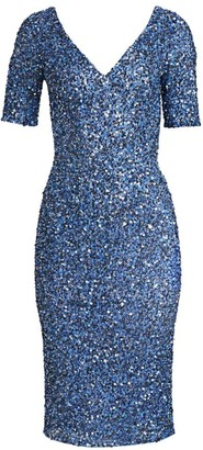 Theia Sequined V-Neck Cocktail Sheath