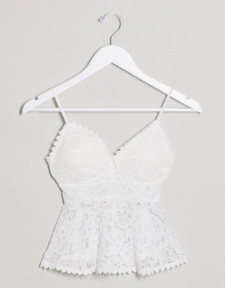 New Look lace peplum top in white