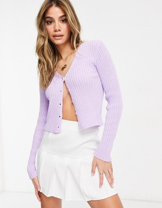 I SAW IT FIRST button through cardigan in lilac