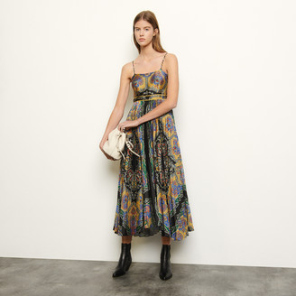 Sandro Long printed dress with straps
