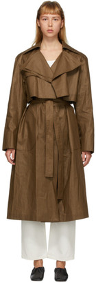 PARTOW Brown Coated Linen Leon Trench Coat