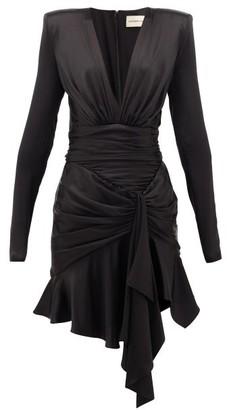 Alexandre Vauthier V-neck Ruched Silk-blend Satin Dress - Womens - Black