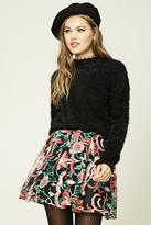 Forever 21 FOREVER 21+ Pleated Embroidered Mini Skirt
