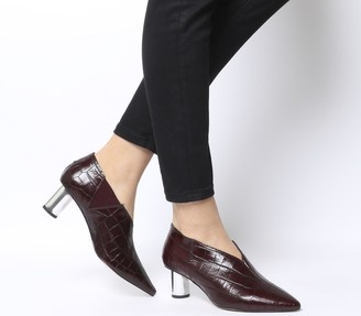 Office Miracle Cylindrical Heel Shoeboot Burgundy Croc Leather Silver Heel