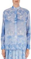 Victoria Beckham Cloud-Print Band-Collar Blouse