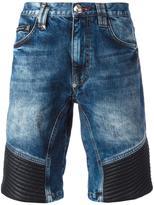 Philipp Plein ribbed panel denim shorts