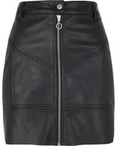 River Island Womens Black faux leather zip biker mini skirt
