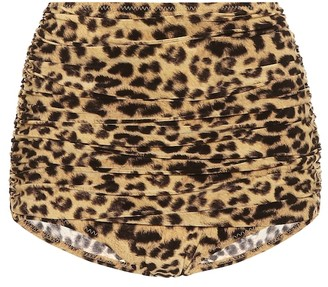 Norma Kamali Bill leopard-print bikini bottoms