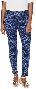 NYDJ Marilyn Straight Printed Ankle Jeans in Wild Animal Discharge