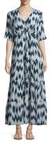 Figue Kalila Printed Silk Maxi Dress, Navy