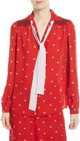 Valentino Rosebud-Print Button-Front Pajama Blouse with Contrast Necktie