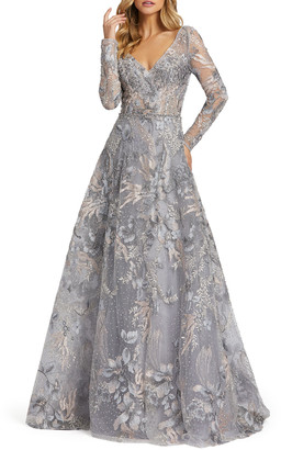 Mac Duggal Forest Embroidered Long-Sleeve A-Line Illusion Gown