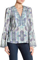 Nanette Lepore Silk Dewdrop Bell Sleeve Tunic