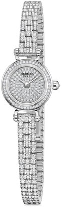 Hermes Faubourg Joaillerie 16.3MM White Gold & Diamond Bracelet Watch