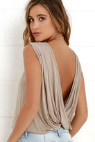 LuLu*s Tango Twist Beige Sleeveless Top