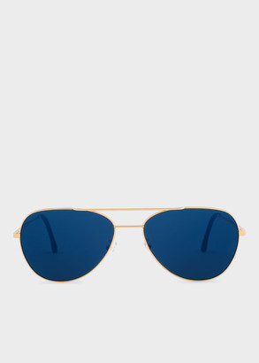 Paul Smith Gold And Deep Navy 'Angus' Sunglasses