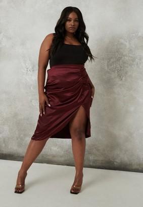 Missguided Plus Size Wine Ruched Split Satin Midi Skirt