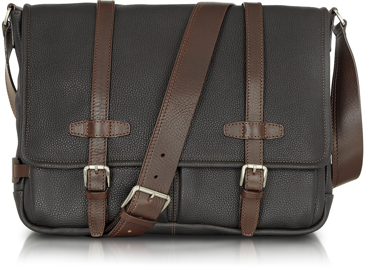Chiarugi Black and Brown Leather Messenger