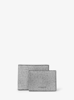 Michael Kors Henry Ink-Print Crossgrain Leather Billfold Wallet With Passcase