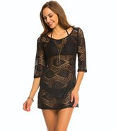 "J Valdi J.Valdi Diamond Crochet 3/4"" Sleeve Scoop Neck Cover Up Tunic 8141022"