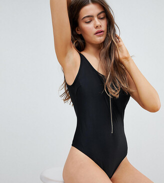 Wolfwhistle Wolf & Whistle Zip Front Swimsuit DD - G Cup-Black