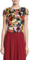 Alice + Olivia Kelli Sequin-Embellished Crop Top, Multicolor