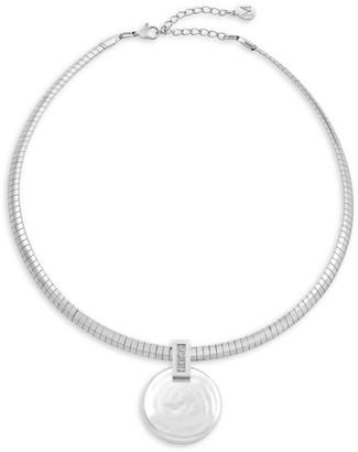 Majorica White Organic Coin Pearl Pendant Choker Necklace