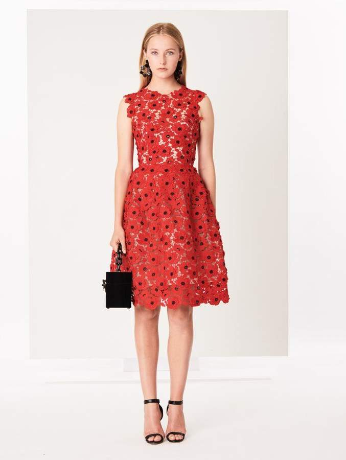 Oscar de la Renta Scarlet Floral Satin Lace Cocktail Dress