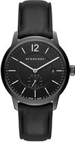 Burberry Black Ion-Plated Stainless Steel Leather Strap Watch