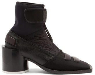 MM6 MAISON MARGIELA Square-toe Leather And Neoprene Ankle Boots - Black