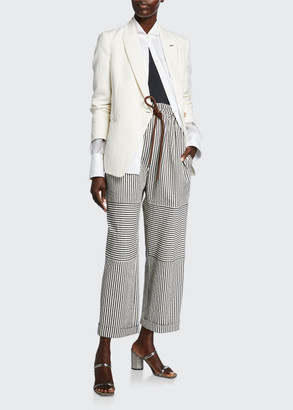 Brunello Cucinelli Striped Cotton Seersucker Pants