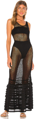 CHIO Long Knit Ruffle Tube Dress
