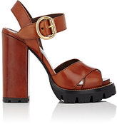 Prada Women's Lug-Sole Leather Ankle-Strap Sandals-GOLD