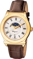 Salvatore Ferragamo 40mm 1898 Sport Men's Moon Phase Watch w/ Leather Strap, Brown